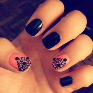 NAIL IDEAS: Pink and Black Lace