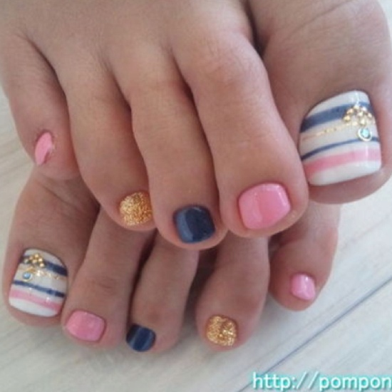 TOENAIL IDEAS: Pink, Blue And Gold