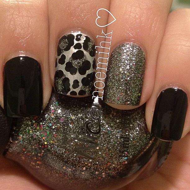 NAIL IDEAS:Black and Silver Cheetah | 10 Pretty Fingers