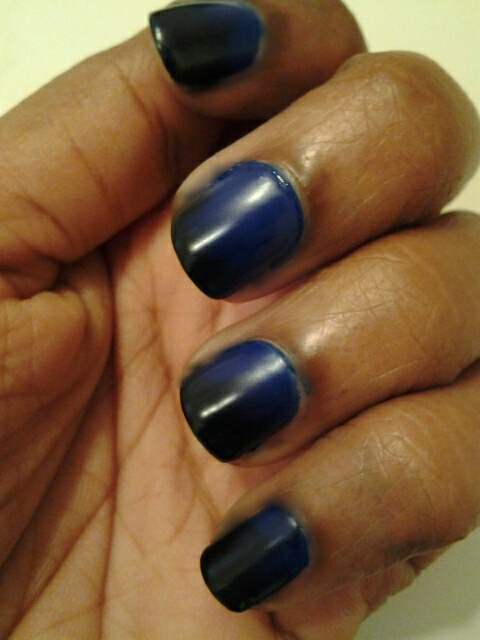 Matte Ombre Blue and Black Nails